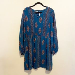 Maurices Blue Lined Long Sleeve Dress Size XL